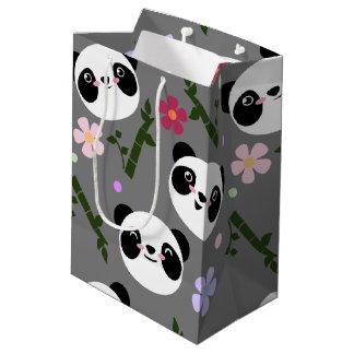 Kawaii Panda on Gray Medium Gift Bag
