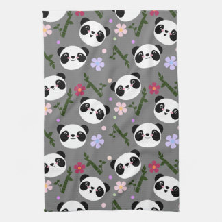 Kawaii Panda on Gray Tea Towel