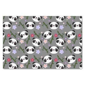 Kawaii Panda on Gray Tissue Paper