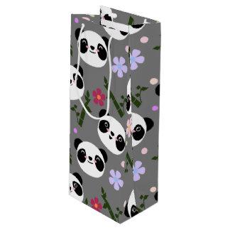 Kawaii Panda on Gray Wine Gift Bag