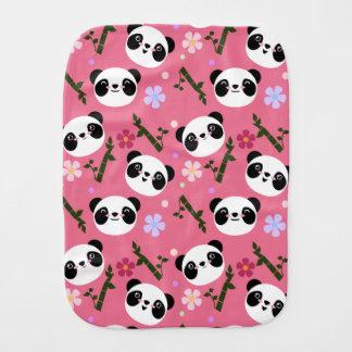 Kawaii Panda on Pink Burp Cloth