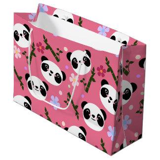 Kawaii Panda on Pink Large Gift Bag