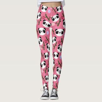 Kawaii Panda on Pink Leggings