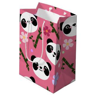 Kawaii Panda on Pink Medium Gift Bag
