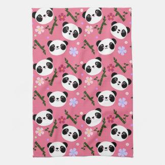 Kawaii Panda on Pink Tea Towel