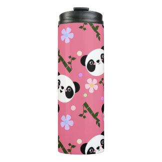 Kawaii Panda on Pink Thermal Tumbler