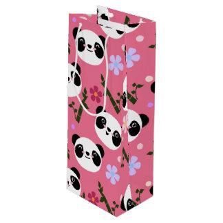 Kawaii Panda on Pink Wine Gift Bag