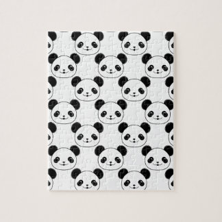 Kawaii Panda Pattern In Black And White Jigsaw Puzzle