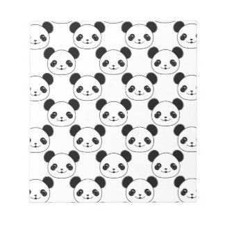 Kawaii Panda Pattern In Black And White Notepad