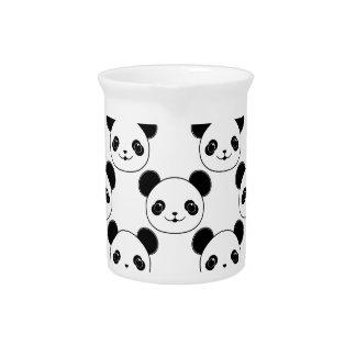 Kawaii Panda Pattern In Black And White Pitcher
