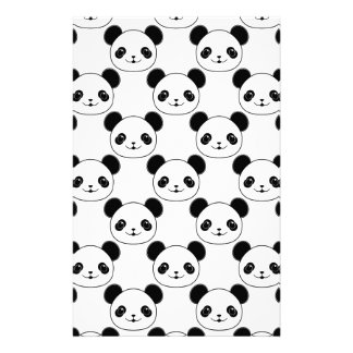 Kawaii Panda Pattern In Black And White Stationery
