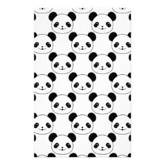 Kawaii Panda Pattern In Black And White Stationery