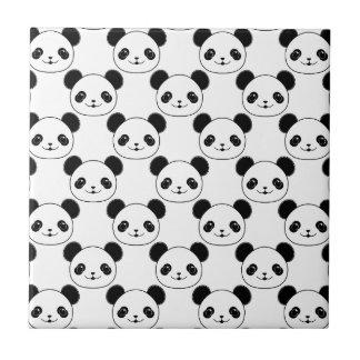 Kawaii Panda Pattern In Black And White Tile