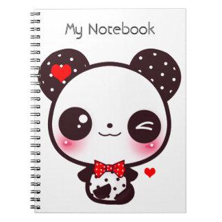 Kawaii panda spiral note book