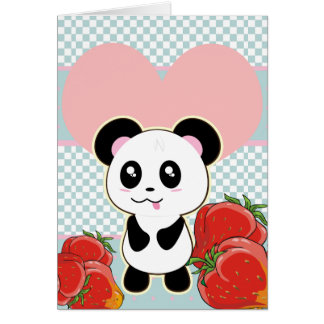 Kawaii Panda strawberries cute Card