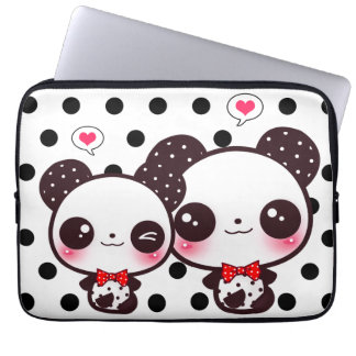 Kawaii pandas on black polka dots laptop sleeve