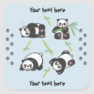 Kawaii Pandas Square Stickers