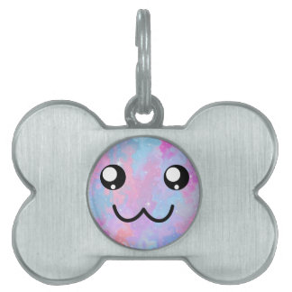 Kawaii Pastel Colorfull Space Background Cute Face Pet Tag