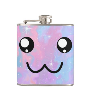 Kawaii Pastel Colorfull Space Background Hip Flask