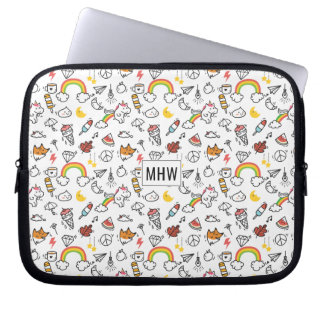 Kawaii Pattern custom monogram laptop sleeves