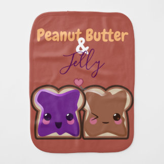 Kawaii Peanut Butter and Jelly Friends Burp Cloth