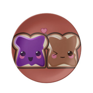 Kawaii Peanut Butter and Jelly Friends Plate