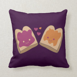 Kawaii Peanut Butter and Jelly Throw Pillow