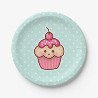 Kawaii Pink Cupcake and Cute Mint Blue Polka Dots Paper Plate