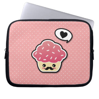 Kawaii Pink Cupcake with a Mustache Laptop Sleeve