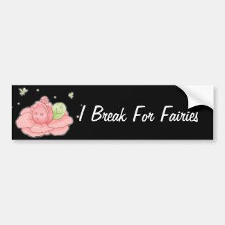 Kawaii Pink Flower Blossom And Green Fairies Bumper Stickers