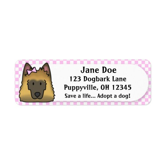 Kawaii Pink Gingham Belgian Tervuren Return Address Label