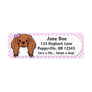 Kawaii Pink Gingham Cavalier King Charles Spaniel Return Address Label