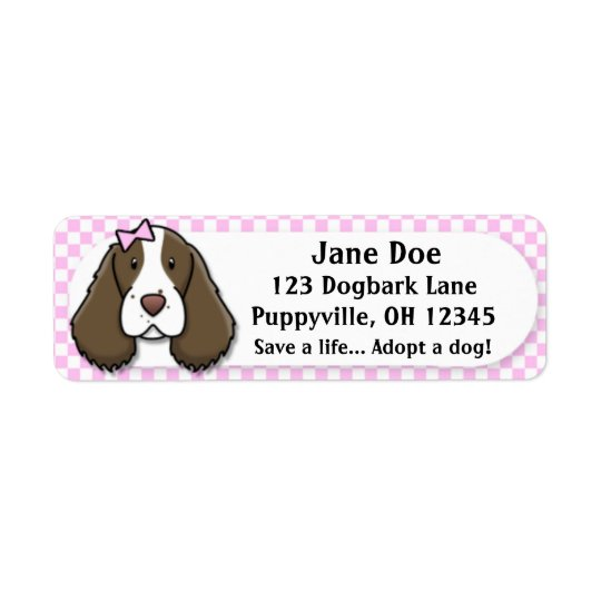 Kawaii Pink Gingham English Springer Spaniel Return Address Label