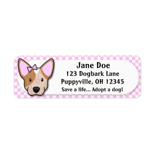 Kawaii Pink Gingham Red Heeler Return Address Label