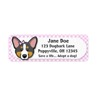 Kawaii Pink Gingham Tri Cardigan Welsh Corgi Return Address Label
