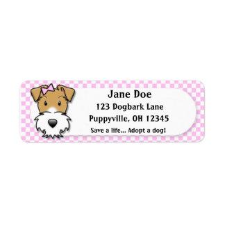 Kawaii Pink Gingham Wire Fox Terrier Return Address Label