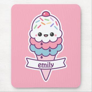 Kawaii Pink Ice Cream Cone Mouse Pad