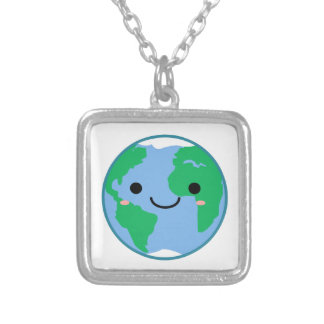 Kawaii Planet Earth Silver Plated Necklace