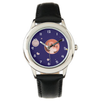 Kawaii Pluto Penguin Planet and Moons Wrist Watches