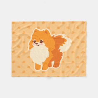 Kawaii Pomeranian Cartoon Dog Fleece Blanket