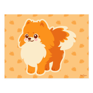 Kawaii Pomeranian Cartoon Dog Postcard