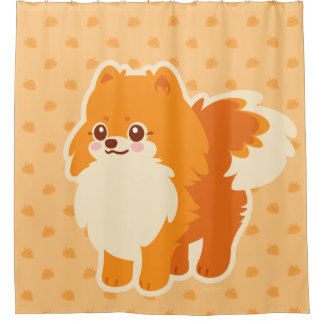 Kawaii Pomeranian Cartoon Dog Shower Curtain