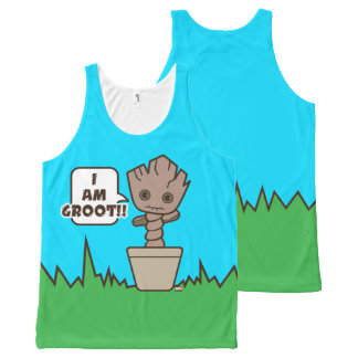 Kawaii Potted Groot All-Over Print Singlet