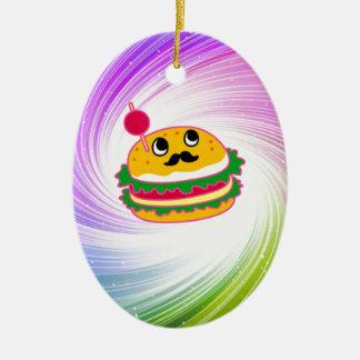 kawaii psychedelic hamburger ceramic oval decoration