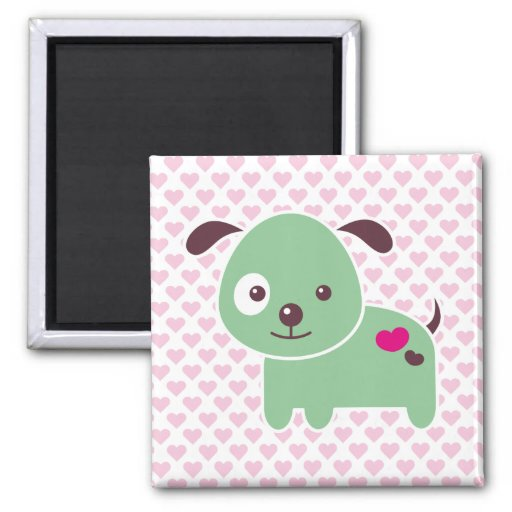 Kawaii puppy square magnet