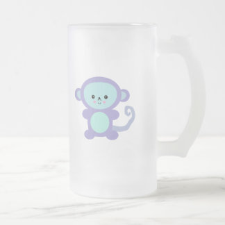 kawaii purple monkey frosted glass beer mug