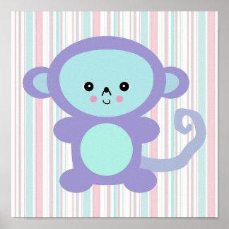 kawaii purple monkey poster