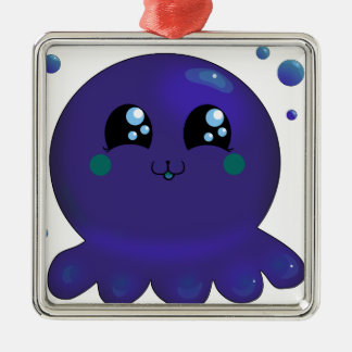 Kawaii Purple Octopus Silver-Colored Square Decoration