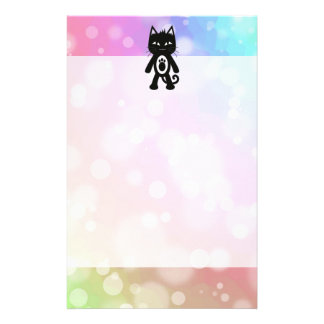 Kawaii Rainbow and Black Cat Stationery