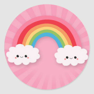 Kawaii Rainbow and Clouds on Pink Starburst Classic Round Sticker